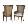 Caned Wing Back Chairs In New Signature Stain - Set of 2