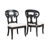 Verona Club Side Chairs In Crossroads Black With Linen Cushions - Set of 2