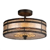 Mica Filligree 2 Light Semi Flush In Tiffany Bronze And Tan Mica