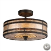 Mica Filligree 2 Light Semi Flush In Tiffany Bronze And Tan Mica - Includes Recessed Lighting Kit