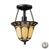 ELK lighting Diamond Ring 1 Light Semi Flush In Burnished Copper - Includes Recessed Lighting Kit
