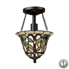 ELK lighting Latham 1 Light Semi Flush In Tiffany Bronze - Includes Recessed Lighting Kit
