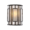 Minden 1 Light Wall Sconce In Tiffany Bronze With Mica And Frosted Seedy Glass