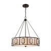 Minden 3 Light Chandelier In Tiffany Bronze With Mica And Frosted Seedy Glass