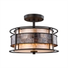 Tremont 2 Light Semi Flush In Tiffany Bronze With Tan And Brown Mica