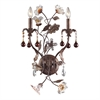 ELK lighting Cristallo Fiore 2 Light Wall Sconce In Deep Rust With Crystal Florets