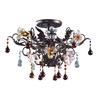 ELK lighting Cristallo Fiore 3 Light Semi Flush In Deep Rust With Crystal Florets