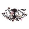 Cristallo Fiore 3 Light Flushmount In Deep Rust With Crystal Florets