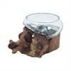 Jetsam Teak Root And Glass Vessel - Short