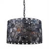 ELK lighting Cirque 3 Light Pendant In Matte Black And Tiffany Glass