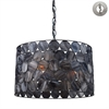 ELK lighting Cirque 3 Light Pendant In Matte Black And Tiffany Glass - Includes Recessed Lighting Kit
