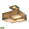 Cubist 2 Light LED Semi Flush In Brushed Nickel