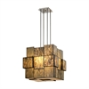 Cubist 8 Light Chandelier In Brushed Nickel With Dusk Sky Art Glass