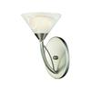 Elysburg 1 Light Wall Sconce In Satin Nickel And White Glass