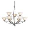 Elysburg 9 Light Chandelier In Satin Nickel And White Glass