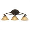 Elysburg 3 Light Vanity In Aged Bronze And Tea Stained Glass