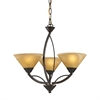 Elysburg 3 Light Chandelier In Aged Bronze And Tea Stained Glass