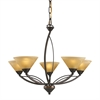 ELK lighting Elysburg 5 Light Chandelier In Aged Bronze And Tea Stained Glass