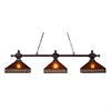 Santa Fe 3 Light Billiard In Mission Bronze With Mica And Tiffany Glass