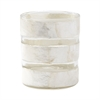 Lazy Susan White Capiz Striped Votive
