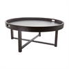 Round Black Teak Coffee Table Tray