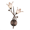 Fioritura 2 Light Wall Sconce In Aged Bronze And Hand Blown Glass