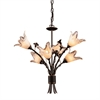 Fioritura 6 Light Chandelier In Aged Bronze And Hand Blown Glass