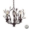 ELK lighting Circeo 3 Light Chandelier In Deep Rust And Crystal Droplets - Includes Recessed Lighting Kit