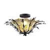 Circeo 2 Light Flushmount In Deep Rust And Caramel Glass
