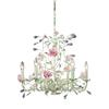 ELK lighting Heritage 6 Light Chandelier In Cream With Pink Porcelain Accents