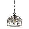 Crystal Web 1 Light Penant In Bronze Gold And Matte Black With Clear Crystal