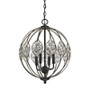 Crystal Web 4 Light Chandelier In Bronze Gold And Matte Black With Clear Crystal