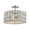 Tessa 3 Light Semi Flush In Polished Chrome With Clear Crystal
