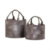 Lazy Susan Nested Gunmetal Leather Buckets-Set Of 2