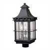Taos Outdoor Post Lantern In Espresso Finish With Seeded Glass