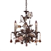 ELK lighting Cristallo Fiore 3 Light Chandelier In Deep Rust With Crystal Florets