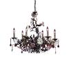 ELK lighting Cristallo Fiore 6 Light Chandelier In Deep Rust With Crystal Florets