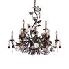 Cristallo Fiore 9 Light Chandelier In Deep Rust With Crystal Florets
