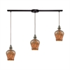 Sojourn 3 Light Linear Bar Fixture In Oil Rubbed Bronze With Lava Toned Glass