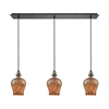 Sojourn 3 Light Linear Pan Fixture In Oil Rubbed Bronze With Lava Toned Glass