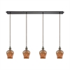 Sojourn 4 Light Linear Pan Fixture In Oil Rubbed Bronze With Lava Toned Glass