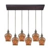 Sojourn 6 Light Rectangle Fixture In Oil Rubbed Bronze With Lava Toned Glass