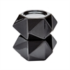 Large Ceramic Star Candle Holders - Black. Set Of 2