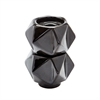 Small Ceramic Star Candle Holders - Black. Set Of 2