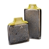 Dotted Relief Rectangular Vases In Lawn Green