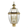 Ashford 3 Light Exterior Post Lantern In Antique Brass