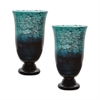 Lazy Susan Emerald Ombre Flared Vase - Set Of 2