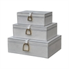 Nested White Leather And Brass Boxes