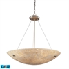 Stonybrook 6 Light LED Pendant In Satin Nickel And Pearl Stone Glass