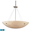 ELK lighting Stonybrook 8 Light LED Pendant In Satin Nickel And Pearl Stone Glass